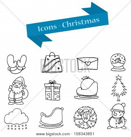 Hand draw of Christmas object icons collection stock