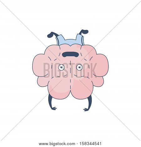 Brain Doing A Headstand Comic Character Representing Intellect And Intellectual Activities Of Human Mind Cartoon Flat Vector Illustration. Cartoon Human Central Nervous System Organ Emoji Design.
