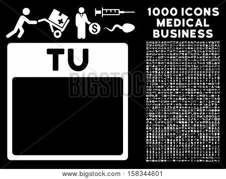 White Tuesday Calendar Page vector icon with 1000 medical business pictograms. Set style is flat symbols, white color, black background.