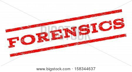 Forensics watermark stamp. Text caption between parallel lines with grunge design style. Rubber seal stamp with unclean texture. Vector red color ink imprint on a white background.
