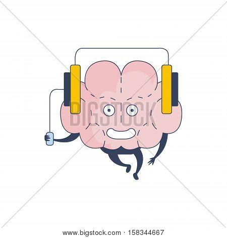 Brain Listening Music Comic Character Representing Intellect And Intellectual Activities Of Human Mind Cartoon Flat Vector Illustration. Cartoon Human Central Nervous System Organ Emoji Design.