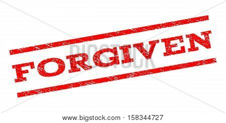 Forgiven watermark stamp. Text caption between parallel lines with grunge design style. Rubber seal stamp with scratched texture. Vector red color ink imprint on a white background.
