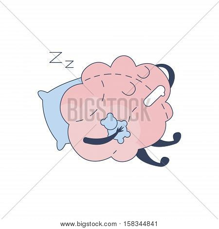 Brain Sleeping With Teddy Bear Comic Character Representing Intellect And Intellectual Activities Of Human Mind Cartoon Flat Vector Illustration. Cartoon Human Central Nervous System Organ Emoji Design.