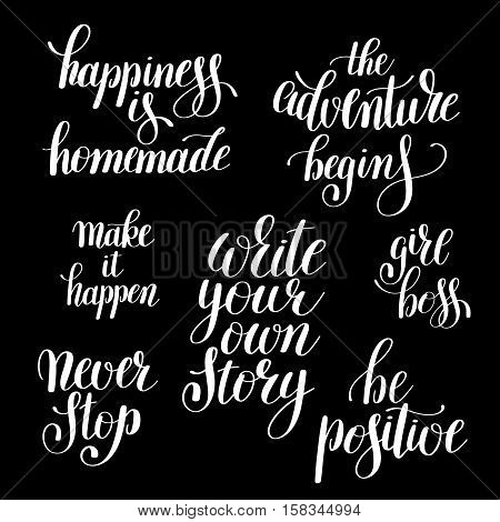 write your own story handwritten positive inspirational quote brush typography to printable wall art, photo album design, home decor or greeting card, modern calligraphy vector illustration