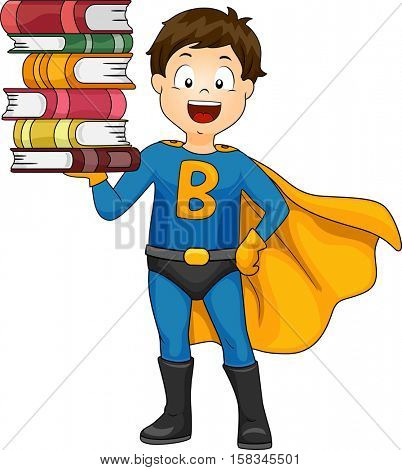 Illustration of a Cute Little Boy in a Superhero Costume Balancing a Stack of Books on His Hand