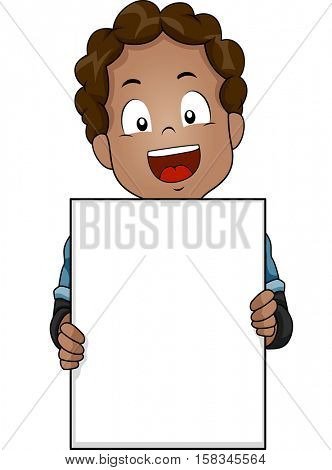 Illustration of a Cute Little African Boy Flashing a Wide Smile While Holding a Blank Board
