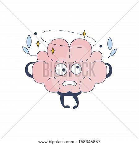 Brain Feeling Dizzy Comic Character Representing Intellect And Intellectual Activities Of Human Mind Cartoon Flat Vector Illustration. Cartoon Human Central Nervous System Organ Emoji Design.