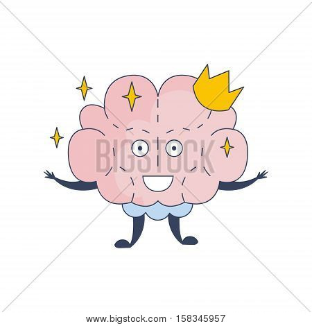Princess Brain In Crown Comic Character Representing Intellect And Intellectual Activities Of Human Mind Cartoon Flat Vector Illustration. Cartoon Human Central Nervous System Organ Emoji Design.