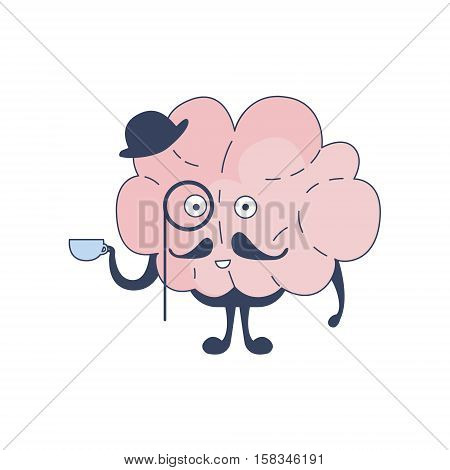 Brain English Gentleman Comic Character Representing Intellect And Intellectual Activities Of Human Mind Cartoon Flat Vector Illustration. Cartoon Human Central Nervous System Organ Emoji Design.