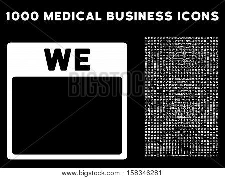 White Wednesday Calendar Page vector icon with 1000 medical business pictograms. Set style is flat symbols, white color, black background.