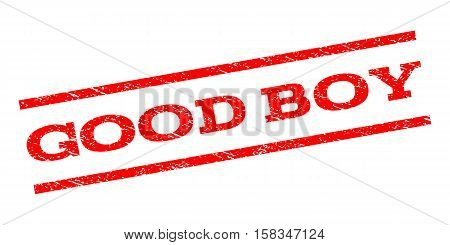 Good Boy watermark stamp. Text caption between parallel lines with grunge design style. Rubber seal stamp with scratched texture. Vector red color ink imprint on a white background.