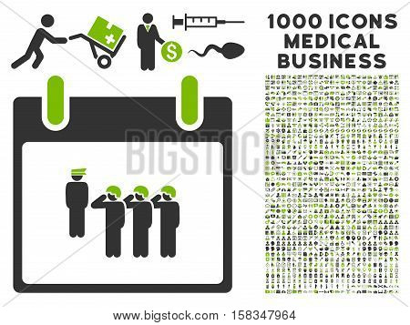Eco Green And Gray Army Squad Calendar Day vector icon with 1000 medical business pictograms. Set style is flat bicolor symbols, eco green and gray colors, white background.
