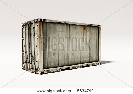 3d illustration of a rusty container isolated on white background