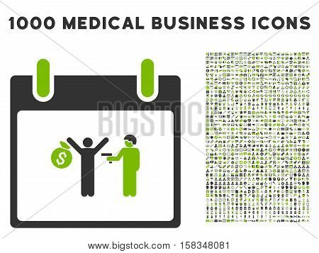 Eco Green And Gray Arrest Calendar Day vector icon with 1000 medical business pictograms. Set style is flat bicolor symbols, eco green and gray colors, white background.