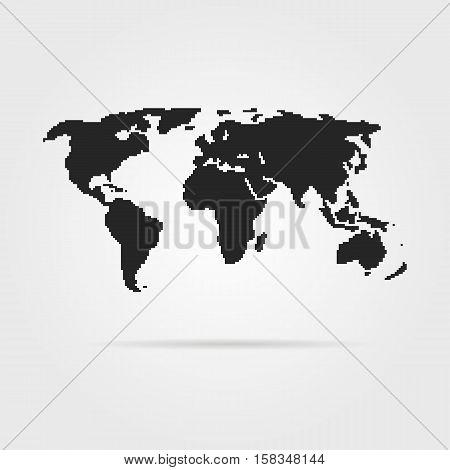 black pixel art world map with shadow. concept of 8bit videogame, graphic wallpaper, school education, locations. pixelart style trendy modern design vector illustration