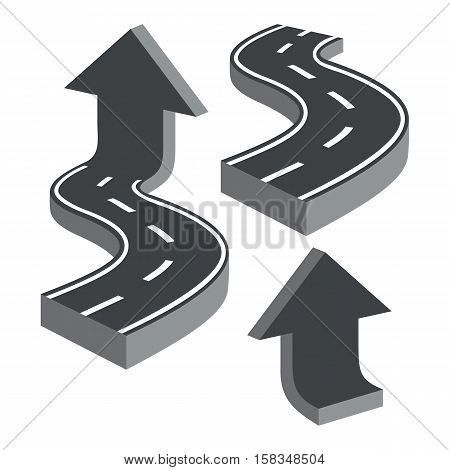 Zigzag roads and arrows. Set on a white background.