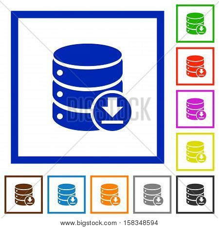 Backup database flat color icons in square frames