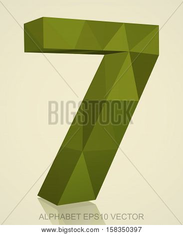 Abstract Khaki 3D polygonal number 7 with reflection. Low poly alphabet collection. EPS 10 vector illustration.