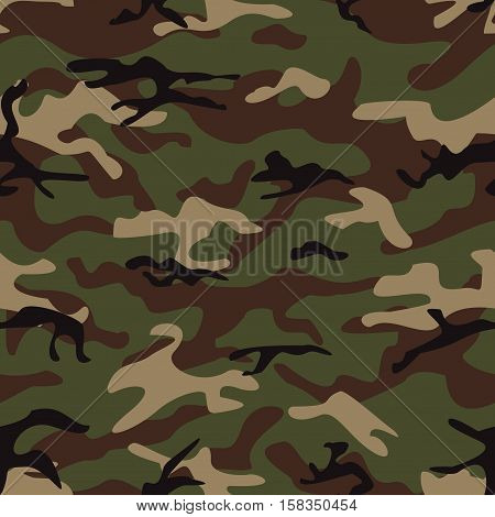 Camouflage seamless pattern. Shapes of foliage and branches. Woodland style. Seamless vector square camouflage series in the green scheme