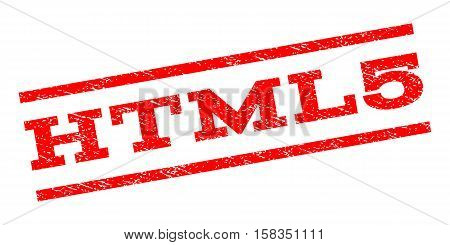 Html5 watermark stamp. Text caption between parallel lines with grunge design style. Rubber seal stamp with dust texture. Vector red color ink imprint on a white background.