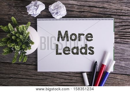 Notepad and green plant on wooden background with More Leads word