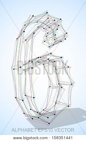 Abstract illustration of a Multicolor sketched number 6 with Transparent Shadow. Hand drawn 3D number 6 for your design. EPS 10 vector illustration.