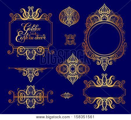 set of floral golden eastern decor frame elements, paisley pattern collection for wedding invitation, birthday greeting card, packaging, party flayer and other design, calligraphy vector