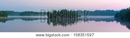 Panorama of forest lake in early summer morning