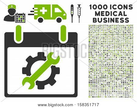 Eco Green And Gray Configuration Tools Calendar Day vector icon with 1000 medical business pictograms. Set style is flat bicolor symbols, eco green and gray colors, white background.