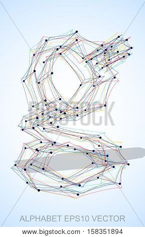 Abstract illustration of a Multicolor sketched lowercase letter G with Transparent Shadow. Hand drawn 3D G for your design. EPS 10 vector illustration.