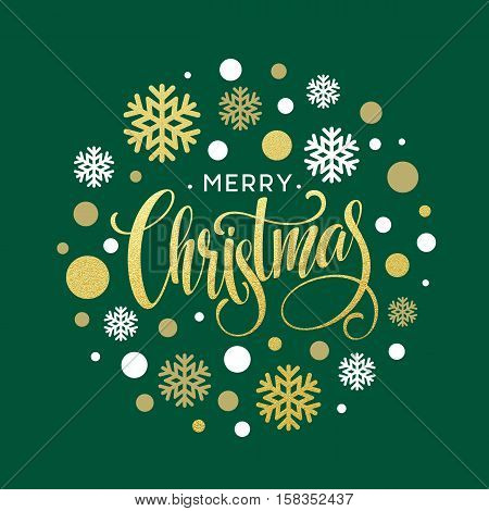 Merry Christmas gold glittering lettering design. Vector illustration EPS 10