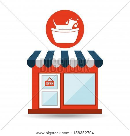 pet shop with dog groomming vector illustration eps 10