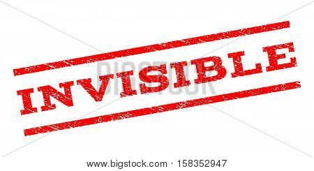 Invisible watermark stamp. Text tag between parallel lines with grunge design style. Rubber seal stamp with scratched texture. Vector red color ink imprint on a white background.