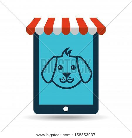 online pet shop and face doggy vector illustration eps 10