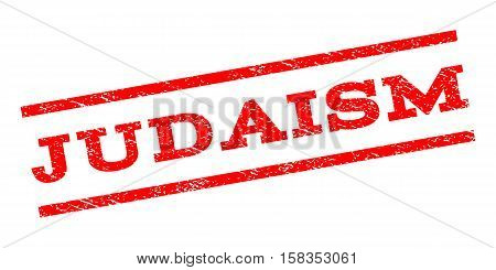 Judaism watermark stamp. Text caption between parallel lines with grunge design style. Rubber seal stamp with dust texture. Vector red color ink imprint on a white background.