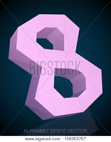 Abstract Pink 3D polygonal 8 with reflection. Low poly alphabet collection. EPS 10 vector illustration.