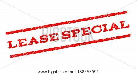 Lease Special watermark stamp. Text caption between parallel lines with grunge design style. Rubber seal stamp with dirty texture. Vector red color ink imprint on a white background.