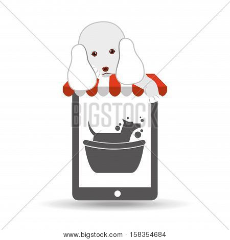 digital pet shop with poodle and dog grooming vector illustration eps 10