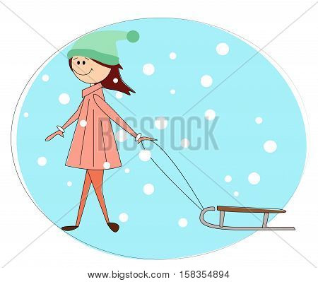 Vector illustration of cute girl with toboggan.