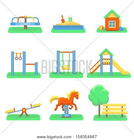 Kids playground set. Icons with kids swings and objects. Slide and kindergarden sandbox carousel illustration.