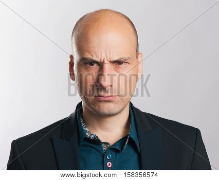 Angry Bald Dude Expressive Portrait