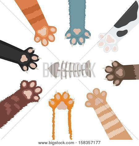 Set of cats paw cartoon vector illustration. Foot of domestic animal