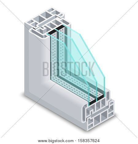 Energy efficient window cross section vector illustration. Plastic profile energy saving window, structure corner window