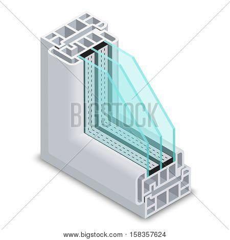 Energy efficient window cross section vector illustration. Plastic profile energy saving window, structure corner window