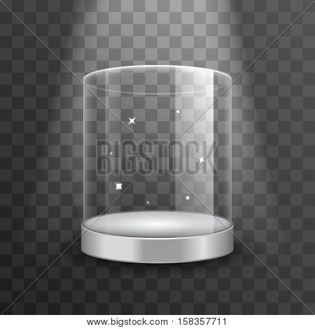 Clean glass showcase podium with spotlight and sparks vector illustration. Showcase for boutique, cylinder clear showcase for exhibition in gallery or museum poster