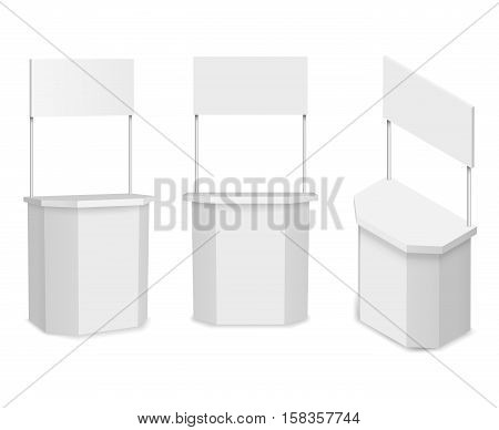 White empty promotion stand or promotion counter. Commercial store and retail, vector illustration