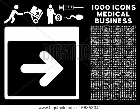 White Next Calendar Day vector icon with 1000 medical business pictograms. Set style is flat symbols, white color, black background.