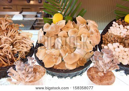 Various Mushroom types in a buffet restaurant