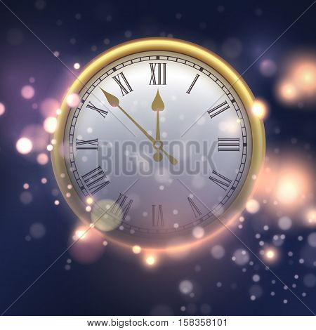 Happy New Year background with clock. Vector illustration EPS10
