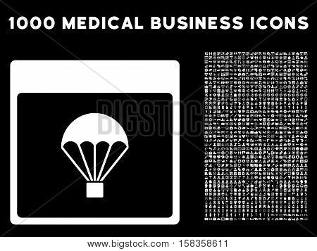 White Parachute Calendar Page vector icon with 1000 medical business pictograms. Set style is flat symbols, white color, black background.